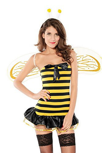 Smile YKK Busy Bee Mini Dress Wing Costume Cosplay Set