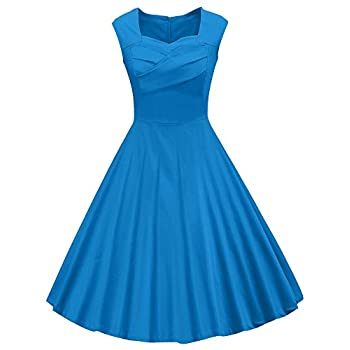 VOGVOG Women's 1950s Retro Vintage Cap Sleeve Party Swing Dress blue