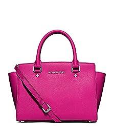 Michael Kors Selma Medium Top Zip Raspberry Pink Saffiano Leather Satchel