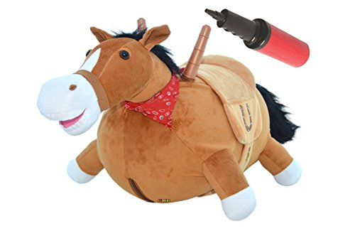 Big Save! Bouncy Horse, Soft plush Ride on INFLATABLE Stuffed Hopper Horse.