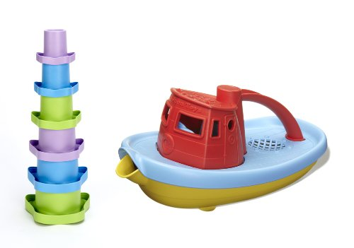Green Toys Stacking Cups and Red Tugboat Bundle - 1