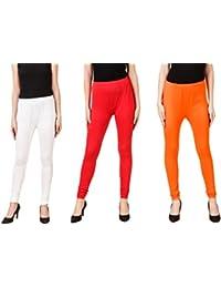PRASITA Fashion Women's Cotton Lycra Churidar Leggings Pack Of 3(WHITE/RED/ORANGE)