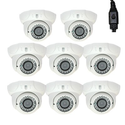 """8 Pack Of Professional 1/3"""" Sony Exview Had Ccd Ii With Effio-E Dsp Devices Cctv Dome Indoor Security Camera W/ Power Supply Kit - 700 Tv Lines, 2.8~12Mm Varifocal Lens, 36Pcs Ir Led, 98 Ft Ir Distance. Vandalproof. Wdr(Wide Dynamic Range). Osd Menu. Grea"""