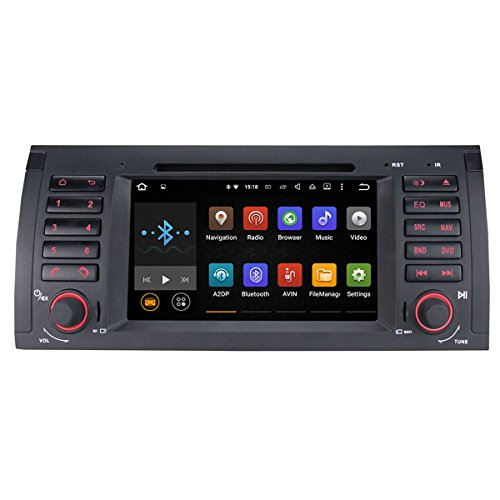 Morjava MJ-8851 Double Din 7 inch Android Car Radio for BMW E39 E53 X5 Series In-dash video 2 din Android 5.1.1 Car PC Quad Core Flash 16G RAM 1G WiFi DVD MIC CANBUS Mirrorscreen (J-8851-CANBUS) (Bmw X5 Tv compare prices)