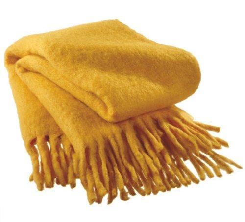 "Deep Mustard Yellow Wool Fringed Afghan Throw Blanket 50"" X 60"" front-510971"