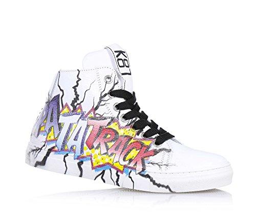 BE KOOL - Sneaker bianca stringata in pelle, ispirata dal mondo dell'arte di strada, con chiusura a zip laterale, occhielli in metallo,, Unisex Bambino-31