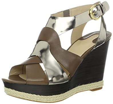 Joan & David Collection Women's Isleen Wedge Sandal,Light Grey/Dark Silver Leather,6 M US