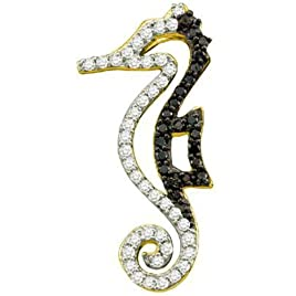 0.22 Carat (ctw) 10k Yellow Gold Black & White Diamond Ladies Seahorse Pendant