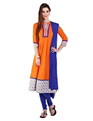 Utsav Fashion Women's Orange Cotton Readymade Anarkali Kameez With Legging-Large