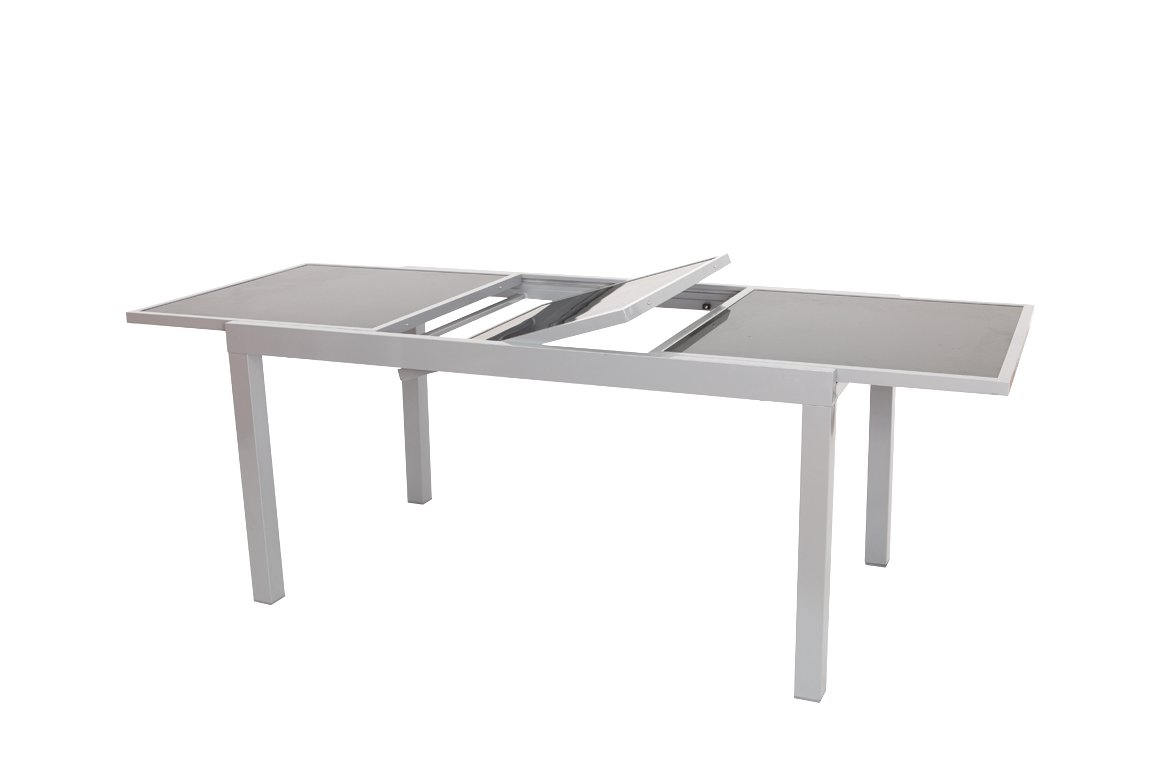 Ausziehtisch PISA 140/200x90cm, Aluminium + Glas günstig