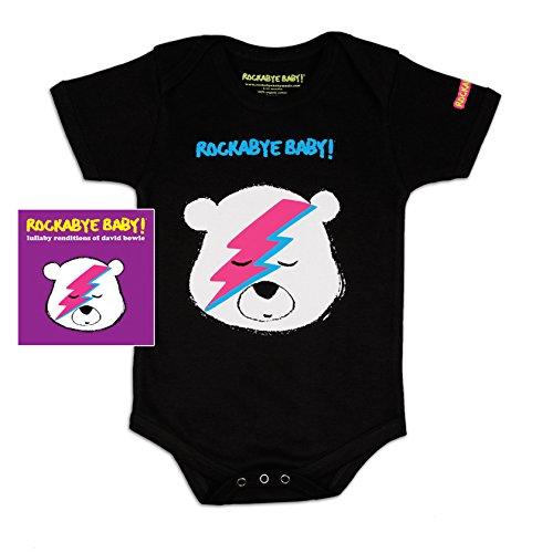 Rockabye Baby! Lullaby Renditions Of David Bowie + Organic Baby Bodysuit (Album Art/ Black)