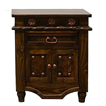 Dark Walnut Grand Nightstand With Copper Accents Real Wood Quality Western Look