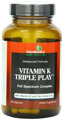 Futurebiotics Capsules, Vitamin K Triple Play, 60 Count front-568326