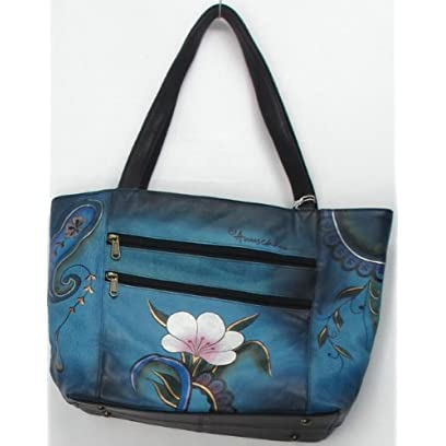 Anuschka Extra Large Hand Painted Denim Paisley Floral Handbag Royal Blue NEW
