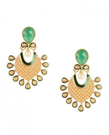 Gold earrings with green stone  kundan