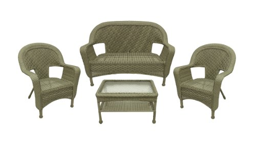 Trend  Pc Northport Driftwood Green Resin Wicker Patio Furniture Set Loveseat Chairs u Table