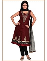 Utsav Fashion Women's Maroon Net Readymade Churidar Anarkali Kameez-Small
