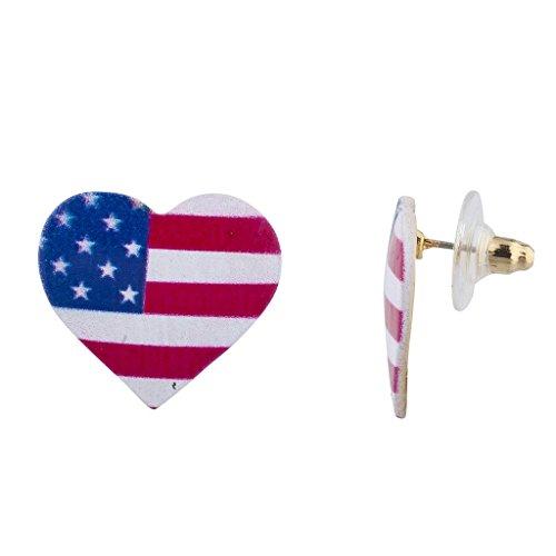 Lux accessori 4luglio Cuore americana Bandiera Americana a forma di cuore orecchini