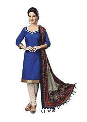 Suchi Fashion Blue & Cream Jacquard Dress Material