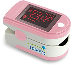 Innovo INV-430J Fingertip Pulse Oximeter Oximetry Blood Oxygen Saturation Monitor with silicon cover, batteries and lanyard *FDA approved* (Blushing Pink)