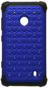 MYBAT Hybrid Luxurious Lattice Dazzling With Some Rhinestones Total Defense Case For Nokia Lumia 521 - Retail Packaging-Dark Blue/Black