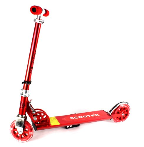 Fashion Children'S Two Wheeled Metal Toy Kick Scooter, Light Up 125Mm Wheels, Maximum Weight: 132 Lbs (Red