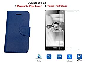 COMBO SET of Magnetic Flip Case Cover for Lenovo Vibe P1m PLUS 100% HIGH Quality Tempered Glass - Blue - LIMITED TIME OFFE ONLY !!!