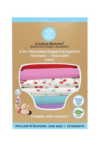 Charlie Banana® 2-in-1 Reusable Diapers - 6 Pack - Sweet Cherries - 1