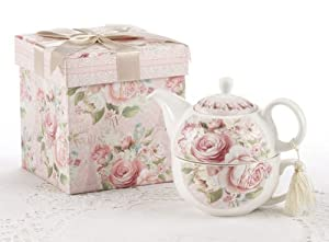 Porcelain Tea for One in Gift Box, Rose by Delton