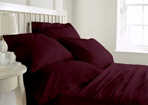 SPLIT SHEET SET is made of 350 Threads High Quality 100% Egyptian Cotton Long Staple CAL-KING Size WINE Color - Fade Resistant, Stain Resistant - Hypoallergenic # 22