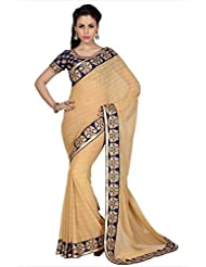 Designersareez Women Beige Jacquard Georgette Saree With Unstitched Blouse (1630)