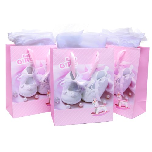 Mygift Adorable Pink Girl Baby Shower Gift Bags & Tissues (Set Of 3), For Birthday Presents, Christening, Baptisms, Expecting Mothers front-961845