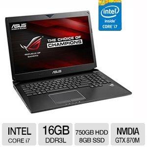 ASUS ROG Gaming Notebook Intel Core i7 16GB Memory 750GB HDD + 8GB SSD Blu-Ray DVDRW NVIDIA GTX 870M 3GB Full HD 17.3 Display Windows 8.1 G750JS-TS71