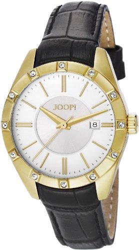Joop  Emblem - Reloj de cuarzo para mujer, con correa de cuero, color negro