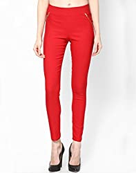 BVM Cotton Lycra Red Jeggings Form Women