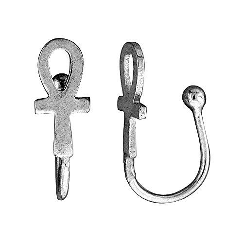 Small Sterling Silver Ankh-Anello naso con foro, confezione da 1 pezzo