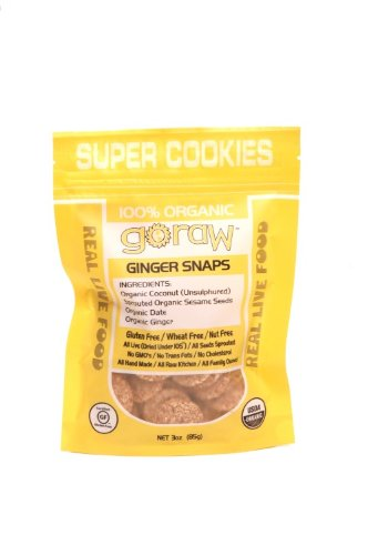 Go Raw Freeland Super Cookies, Ginger Snaps, 3-Ounce Bags (Pack of 6)