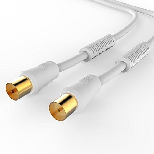 Sentivus-TV-Antennenkabel-5m-wei-HDTV-110dB-Koax-Stecker-Koax-Kupplung-4fach-geschirmt-vergoldet
