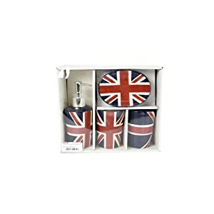 set de salle de bain british london avec le drapeau anglais union jack deco londres. Black Bedroom Furniture Sets. Home Design Ideas