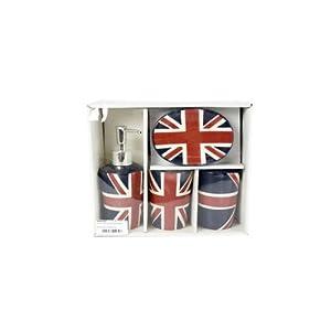 Set de salle de bain british london avec le drapeau for Set de salle de bain