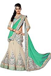 Apka Apna fashion Cream and Green Embroidered Net,Silk Designer Lehngha Choli with blouse