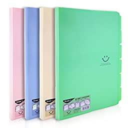 Lucky Cion File Assorted Colors Folders with 7 Sections for Letter Size Paper 4 Pcs