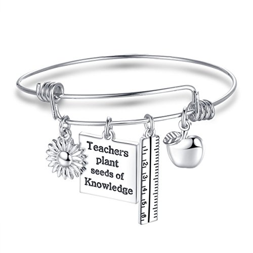 Udobuy®Personalized Teacher Bangle Bracelet-Teacher Gift, Show Your Teacher Appreciation Thank You Gifts for Teachers