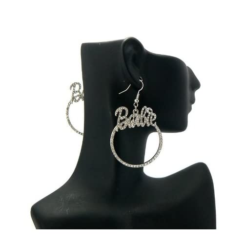 NICKI MINAJ BARBIE Rhinestone Pave Circle Earring Silver Clear