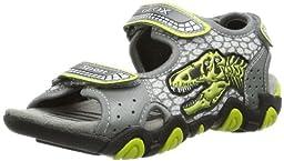 Geox Strike Sandal (Toddler/Little Kid/Big Kid),Grey/ Lime,24 EU (8 M US Toddler)