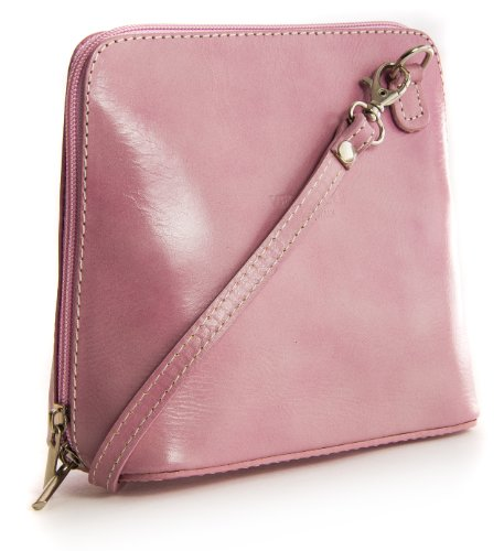 Big Handbag Shop Womens Mini Genuine Leather Cross Body Bag (V155 Baby Pink)