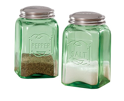 Miles Kimball Green Depression Style Glass Salt & Pepper Shakers (Salt And Pepper Shakers Green compare prices)