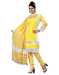 Cenizas Womens Chiffon Salwar Semi-Stitched Dress Material (Gold2009 _Yellow)