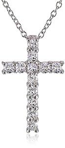 "Platinum Plated Sterling Silver Swarovski Zirconia 3/4"" Cross Pendant"