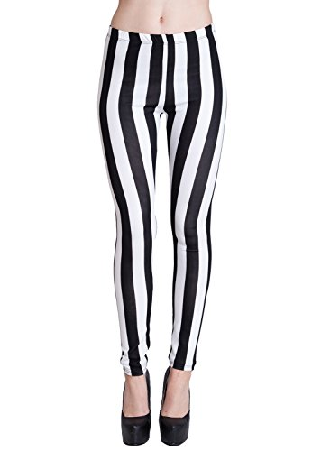 Woman Black & White Vertical Striped Leggings, Made in USA (Clown Pants)